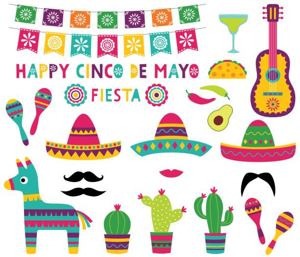 Cinco de Mayo party set (banner, sombreros, pinata, cacti, a guitar) Cinco de Mayo party set (banner, sombreros, pinata, cacti, a guitar) cinco de mayo stock illustrations