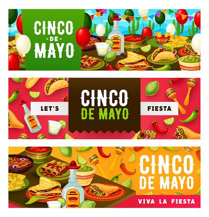 Cinco de Mayo Party tacos, tequila and sombrero