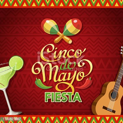 Join the Cinco De Mayo Fiesta held on 5 May with maraca, acoustic guitar, chili pepper and margarita on the red colored Mexican pattern