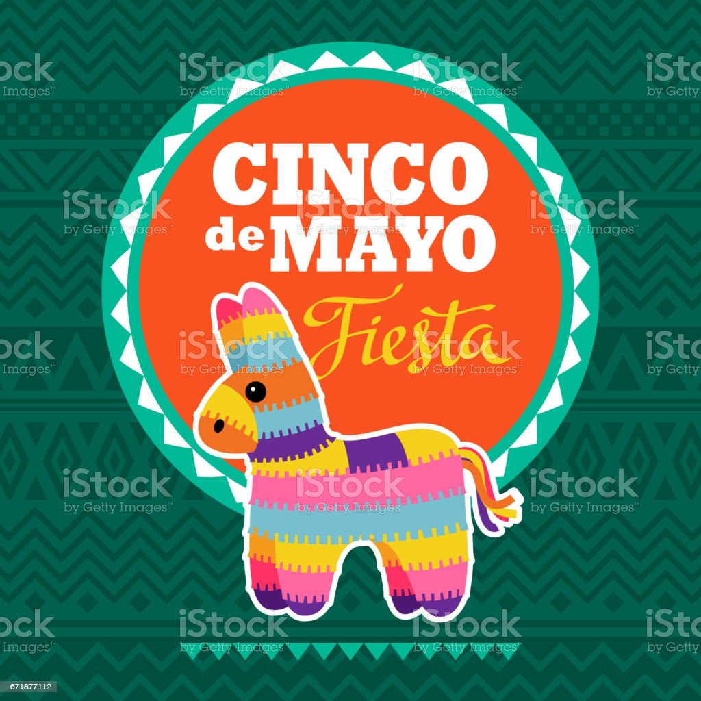 Cinco De Mayo Pinata Party Invitation vector art illustration