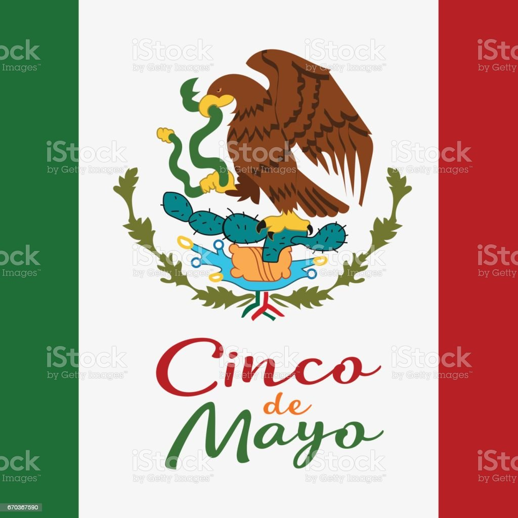 Cinco De Mayo Poster Design Symbol Of The Mexican Flag Stock Vector