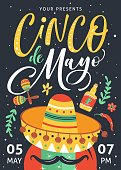 Cinco De Mayo poster design with hand written text.