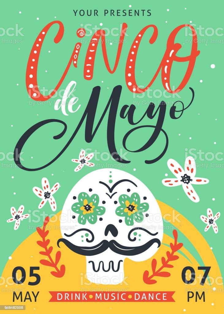 Cinco De Mayo poster design with hand written text. vector art illustration