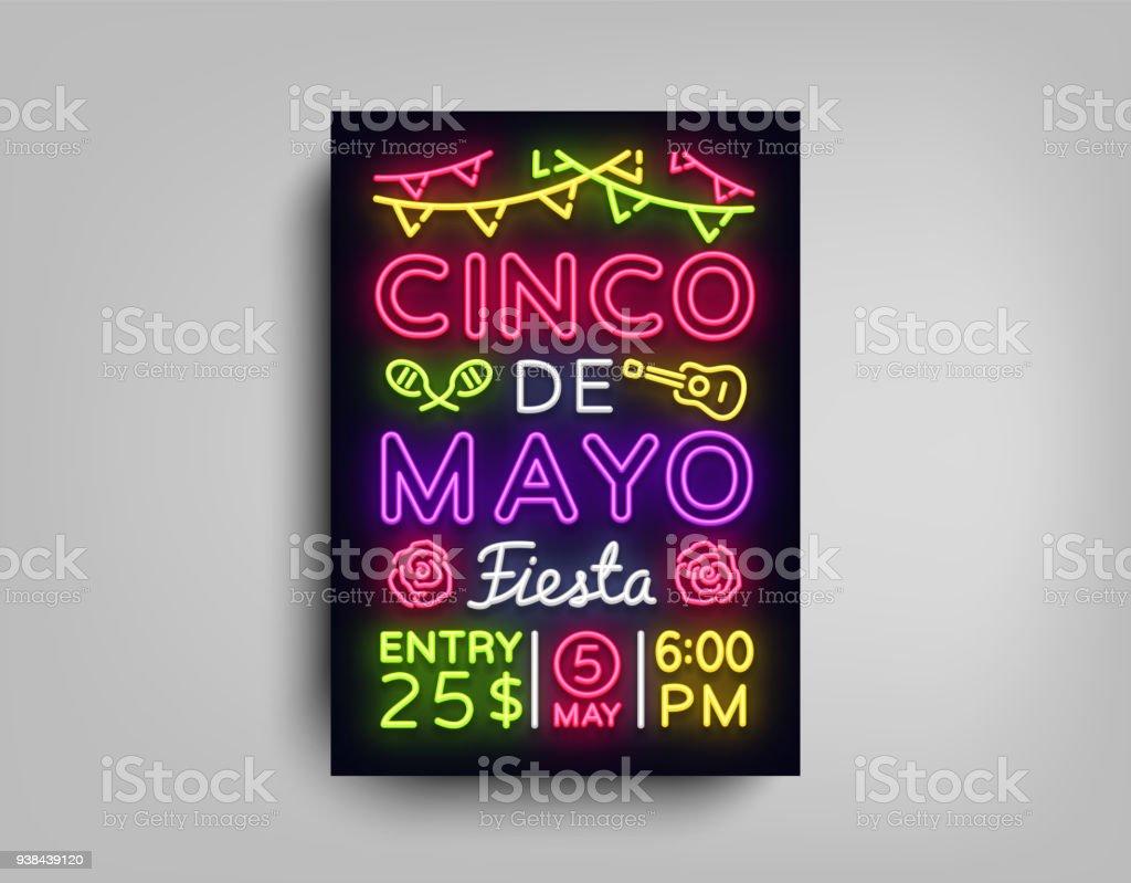 ネオン スタイルでのシンコ デ マヨのポスターシンコデマヨパンフレット