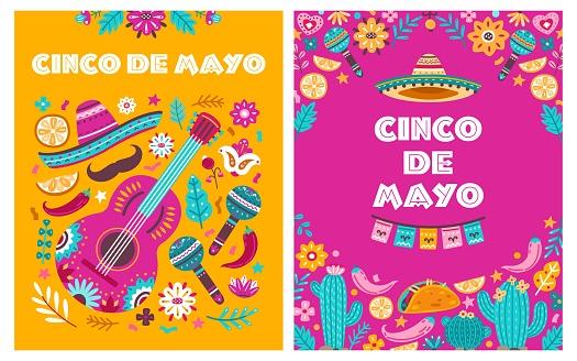 Cinco de mayo poster. Mexican party, mexico latin fiesta decorative invitation. Spanish chili, skulls flowers festival vector cards design
