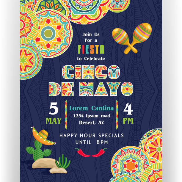 Cinco De Mayo poster template with ornate text and details. Text customized for invitation for fiesta party. Mexican attributes at dark ornament for background. Vector illustration. cinco de mayo stock illustrations
