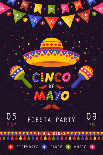 Cinco de mayo poster, traditional mexican celebration