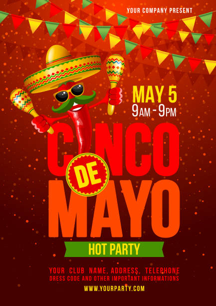 cinco de mayo poster - chilli stock-grafiken, -clipart, -cartoons und -symbole