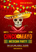 Cinco de Mayo poster or flyer design template with cheerful decorated skull in sombrero and red peppers - symbols of holiday. Vector illustration.