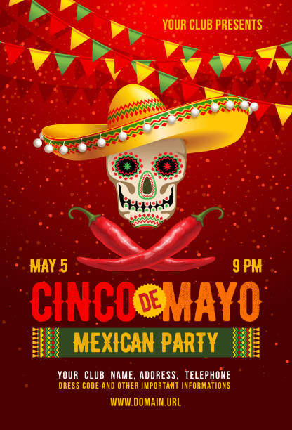 Cinco de Mayo poster Cinco de Mayo poster or flyer design template with cheerful decorated skull in sombrero and red peppers - symbols of holiday. Vector illustration. cinco de mayo stock illustrations