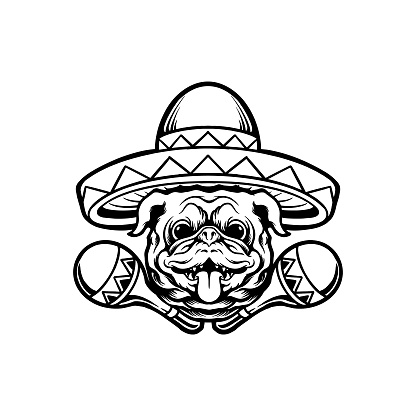 Cinco de mayo pug dog with sombrero hat char Silhouette illustrations for your work Logo, mascot merchandise t-shirt, stickers and Label designs, poster, greeting cards advertising business company or brands.