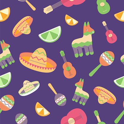 Cinco de Mayo Seamless Pattern for festival in Mexico, flat style. T-shirt print of colorful symbols for Mexican parade with maracas, pinata, fruits, sombrero and guitar