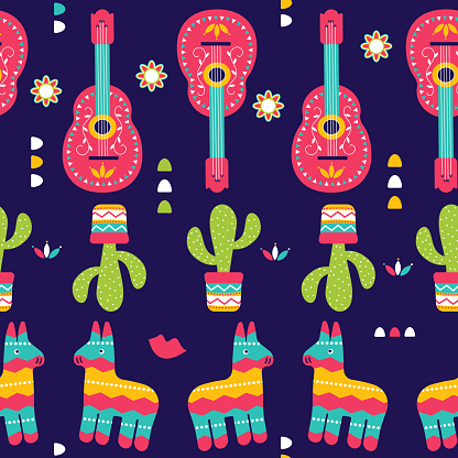 Cinco de Mayo Seamless Pattern for festival in Mexico, flat style. T-shirt print of traditional Mexican ethnic symbols with pinata, cactus plants and guitar on violet.
