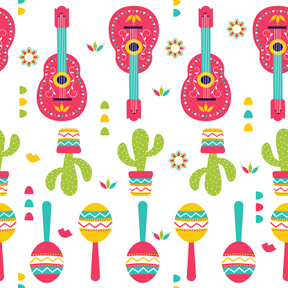 Cinco de Mayo Seamless Pattern for festival in Mexico, flat style. T-shirt print of traditional Mexican ethnic symbols with maracas, cactus plants and guitar isolated on white.