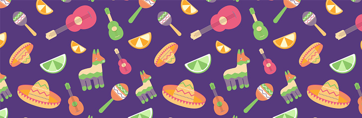Cinco de Mayo Seamless Pattern for festival in Mexico, flat. T-shirt print of colorful symbols for Mexican parade with maracas, pinata, fruits, sombrero, cactus, guitar