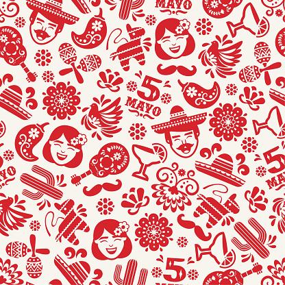 Cinco de Mayo seamless pattern - v2