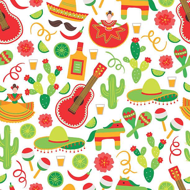 bildbanksillustrationer, clip art samt tecknat material och ikoner med cinco de mayo seamless pattern with dancing woman, tequila, cactus - cactus lime