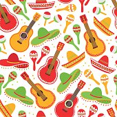 Cinco de Mayo (Fifth of May) seamless pattern with guitar, sombrero and maracas. Perfect for wallpaper, gift paper, pattern fills, Mexican greeting cards. Vector illustration