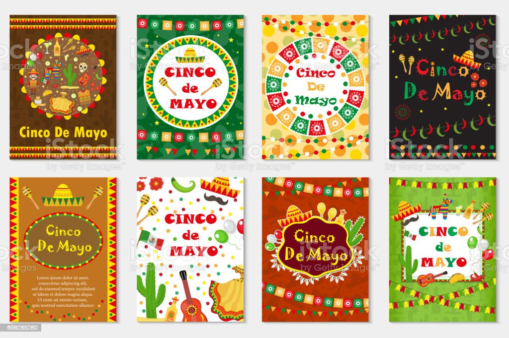 Cinco de Mayo set greeting card, template for flyer, poster, invitation. Mexican celebration with traditional symbols. Collection with bunting, sambrero, tequila, cactus, maracas. Vector illustration. vector art illustration