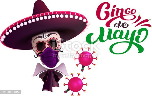 Cinco de mayo skull in sombrero and mask protection against coronavirus. Text greeting card