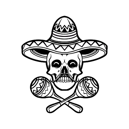 Cinco de mayo skull Sambrero Silhouette illustrations for your work Logo, mascot merchandise t-shirt, stickers and Label designs, poster, greeting cards advertising business company or brands.