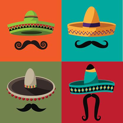 Cinco De Mayo sombrero and mustache flat design poster