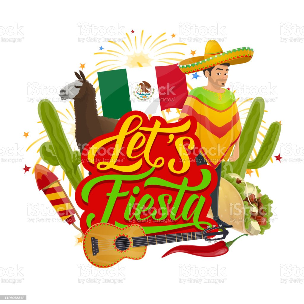 Cinco de Mayo sombrero, Mexican fiesta fireworks vector art illustration