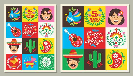 Cinco de Mayo square icons greeting cards