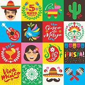 """Set of 16 Mexican icons on a grid, for the """"Cinco de Mayo"""" holiday. Vector icon designs on Mexican culture."""