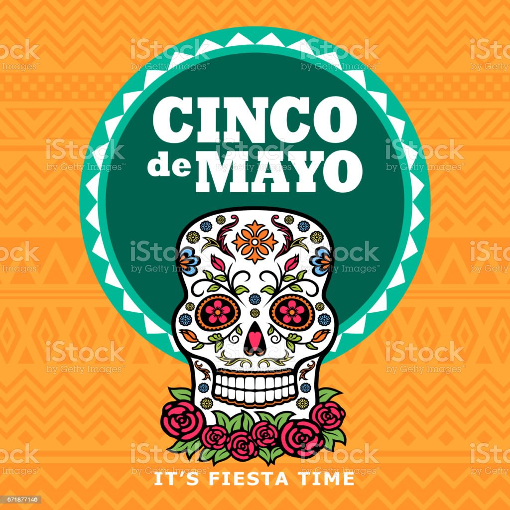 Cinco De Mayo Sugar Skull Fiesta vector art illustration