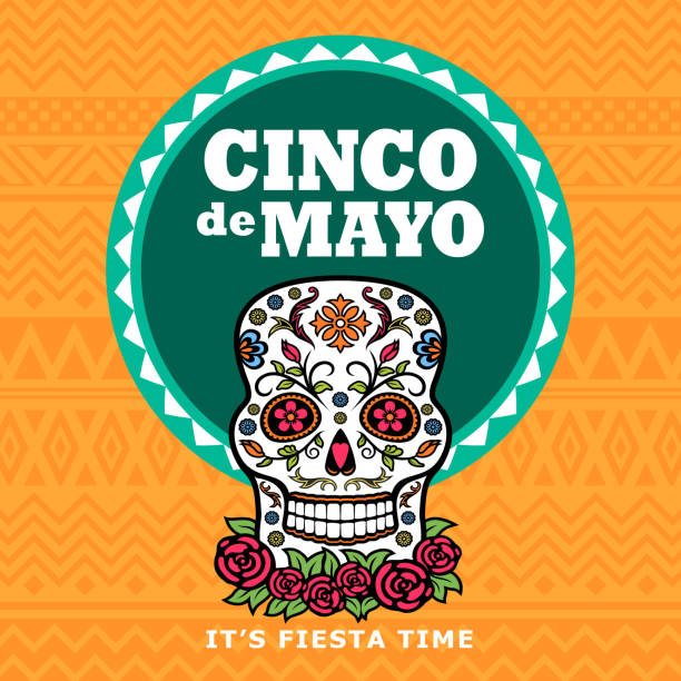 Cinco De Mayo Sugar Skull Fiesta Celebrate the Cinco De Mayo with Mexican sugar skull cinco de mayo stock illustrations