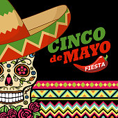 Celebrate Cinco De Mayo with sombrero and sugar skull on the colorful folk art pattern for the fiesta