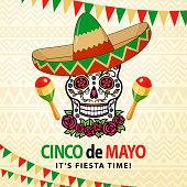 Celebrate the Cinco De Mayo with Mexican sugar skull