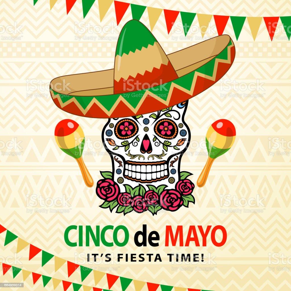Cinco De Mayo Sugar Skull vector art illustration