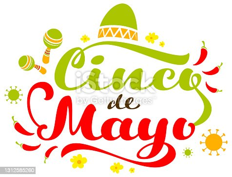istock Cinco de Mayo text greeting card mexican festival covid 19. Sombrero hat, maracas and hot chili peppers 1312585260