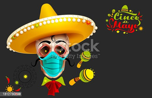 istock Cinco de Mayo text greeting card. Skull in sombrero and protective mask against covid 1312730209