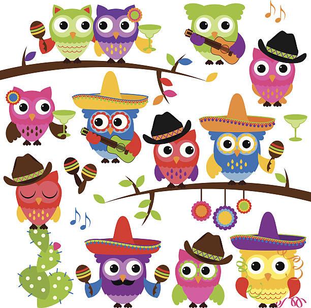 bildbanksillustrationer, clip art samt tecknat material och ikoner med cinco de mayo themed collection of owls and branches - latino music