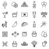 Cinco de Mayo Thin Line Icon Set