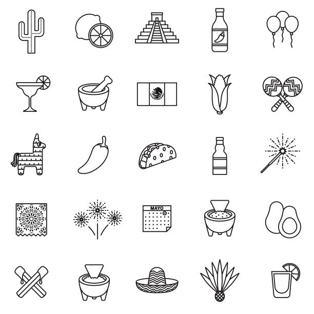 Cinco de Mayo Thin Line Icon Set A set of 25 thin line icons in a contemporary style. The vector EPS file is built in the CMYK color space for optimal printing. salsa sauce stock illustrations
