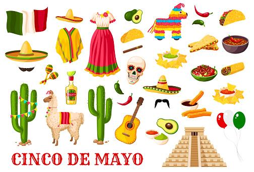Cinco de Mayo traditional Mexican holiday symbols