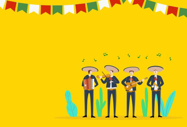 cinco de mayo, traditional mexico holiday, mexican musicians playing instruments, vector - cinco de may stock illustrations, clip art, cartoons, & icons
