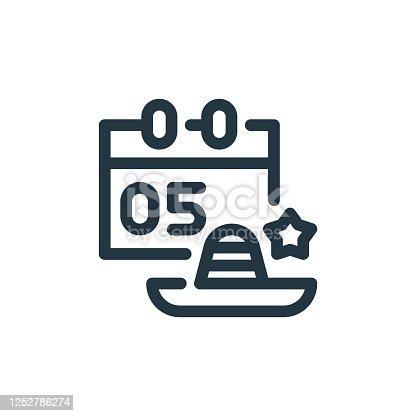 istock cinco de mayo vector icon. cinco de mayo editable stroke. cinco de mayo linear symbol for use on web and mobile apps, logo, print media. Thin line illustration. Vector isolated outline drawing. 1252786274