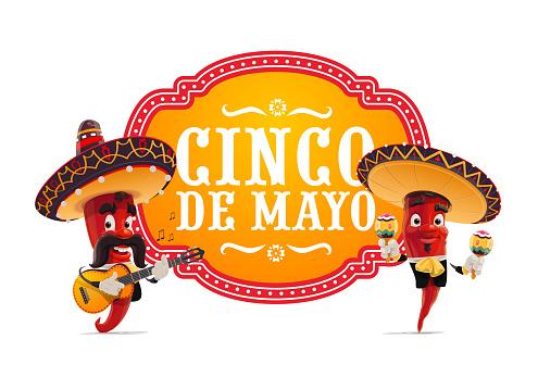 Cinco de Mayo vector icon with Mariachi jalapenos