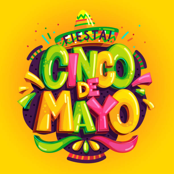 Cinco de mayo Cinco de mayo fiesta color vector illustration on a yellow background cinco de mayo stock illustrations
