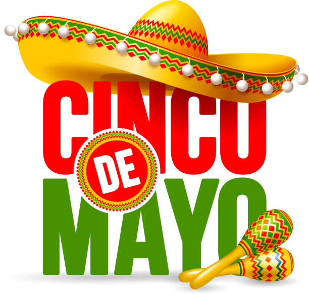 Cinco de Mayo Cinco de Mayo emblem design with lettering, sombrero and maracas - symbols of holiday. Isolated on white background. Vector illustration. cinco de mayo stock illustrations