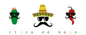 Cinco de mayo mexican fiesta holiday poster banner greeting card