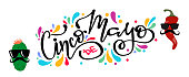 Cinco de mayo mexican fiesta holiday poster banner greeting card, hand drawn lettering design