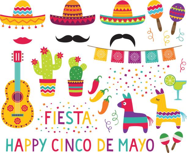 Cinco de Mayo vector set Cinco de Mayo design elements, vector set cinco de mayo stock illustrations