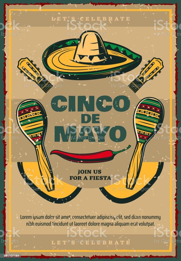 Cinco de Mayo vector sketch retro Mexican poster vector art illustration