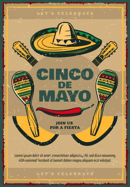 cinco de mayo vector sketch retro mexican poster - cinco de may stock illustrations, clip art, cartoons, & icons